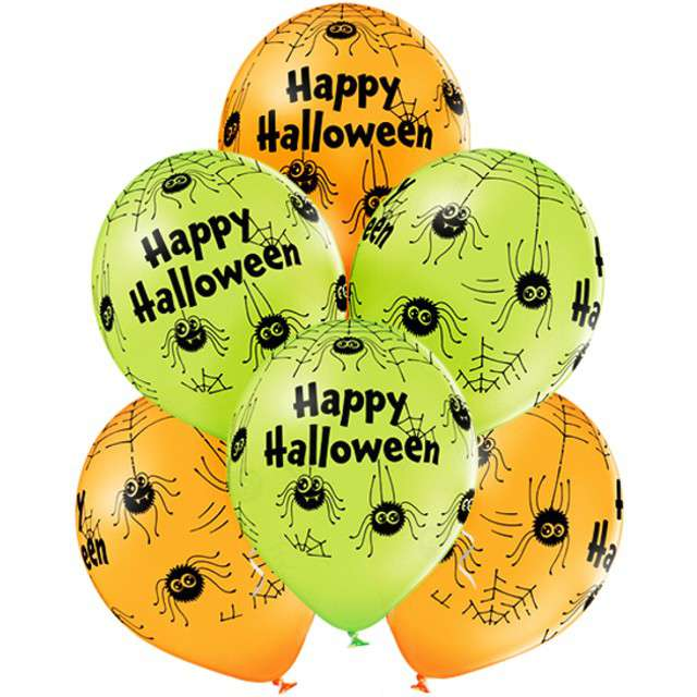 Balony Halloween Spiders pastel mix BELBAL 12 6 szt