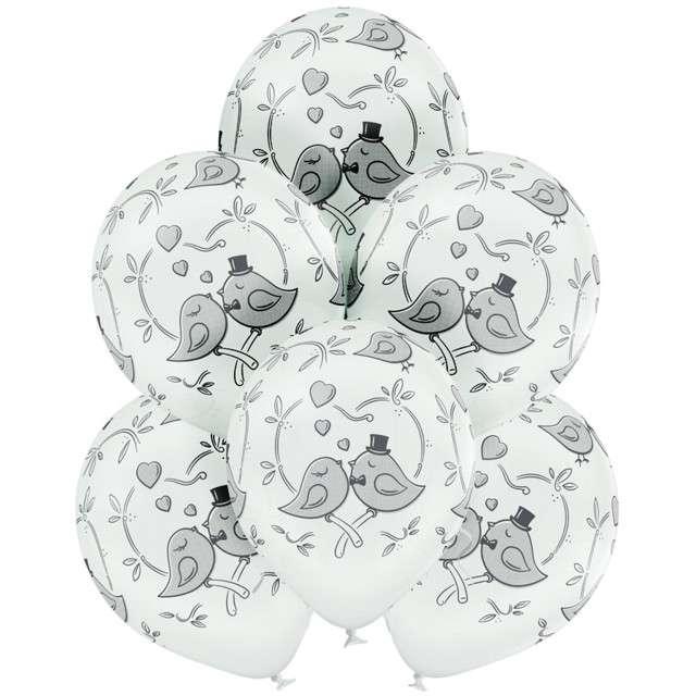 Balony Gołąbki Ślubne pastel białe BELBAL 12 6 szt