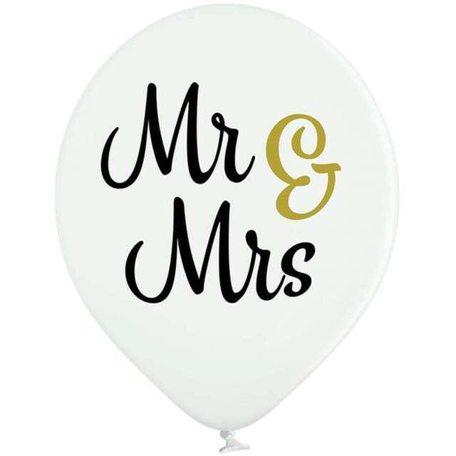 Balony Mr i Mrs pastel biały BELBAL 12 6 szt