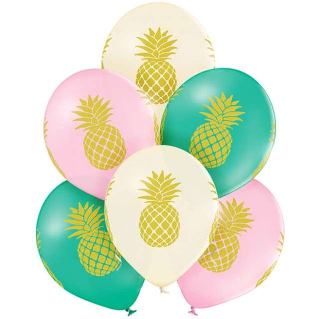 "Balony ""Ananas"", pastel mix, BELBAL, 12"", 6 szt"