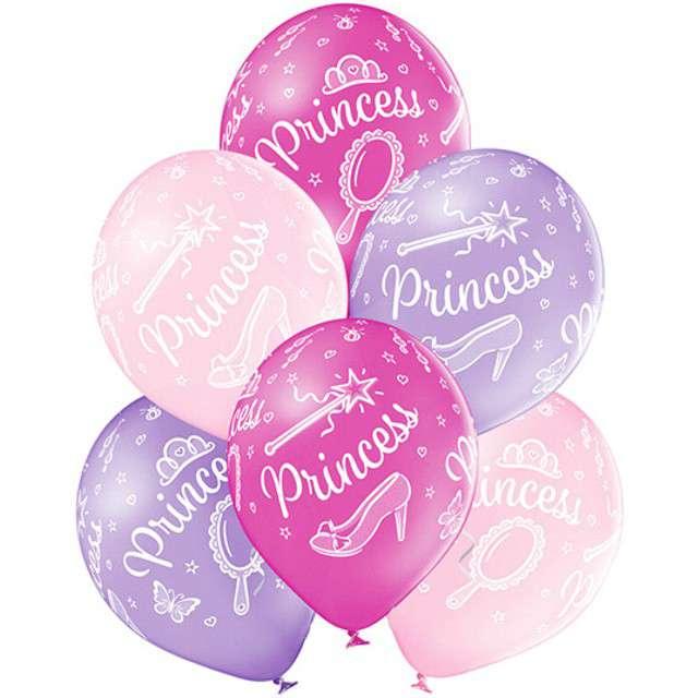 """Balony """"Księżniczka - Princess"""", pastel mix, BELBAL, 12"""", 6 szt"""