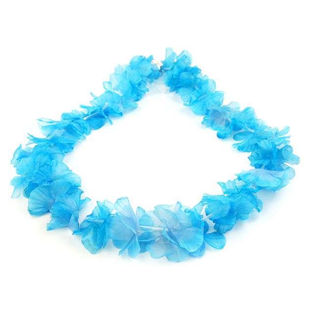 Naszyjnik hawajski Kwiaty niebieski jasny 100 cm