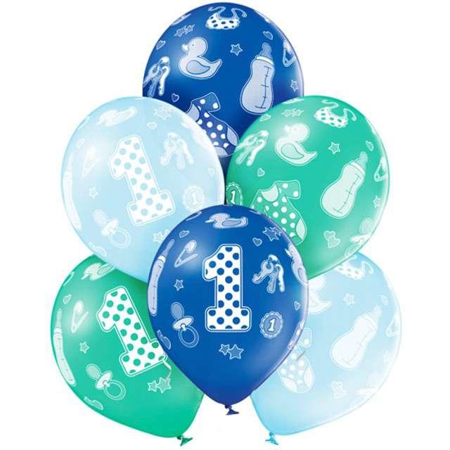 """Balony """"1 Urodziny Chłopiec"""", pastel mix, BELBAL, 12"""", 6 szt"""
