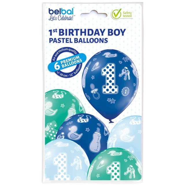 Balony 1 Urodziny Chłopiec pastel mix BELBAL 12 6 szt