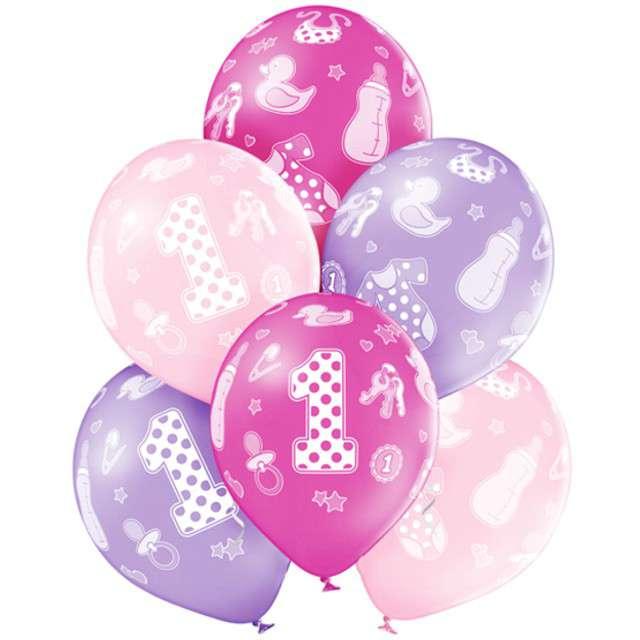 Balony 1st Birthday Girl pastel mix BELBAL 12 6 szt
