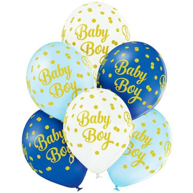 """Balony """"Baby Boy - Kropki"""", pastel mix, BELBAL, 12"""", 6 szt"""