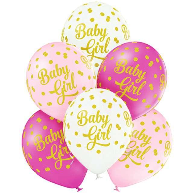 """Balony """"Baby Girl - Kropki"""", pastel mix, BELBAL, 12"""", 6 szt"""