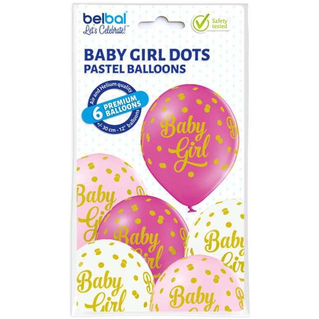 Balony Baby Girl - Kropki pastel mix BELBAL 12 6 szt