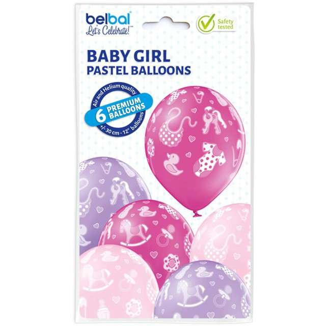 Balony Baby Girl pastel mix BELBAL 12 6 szt