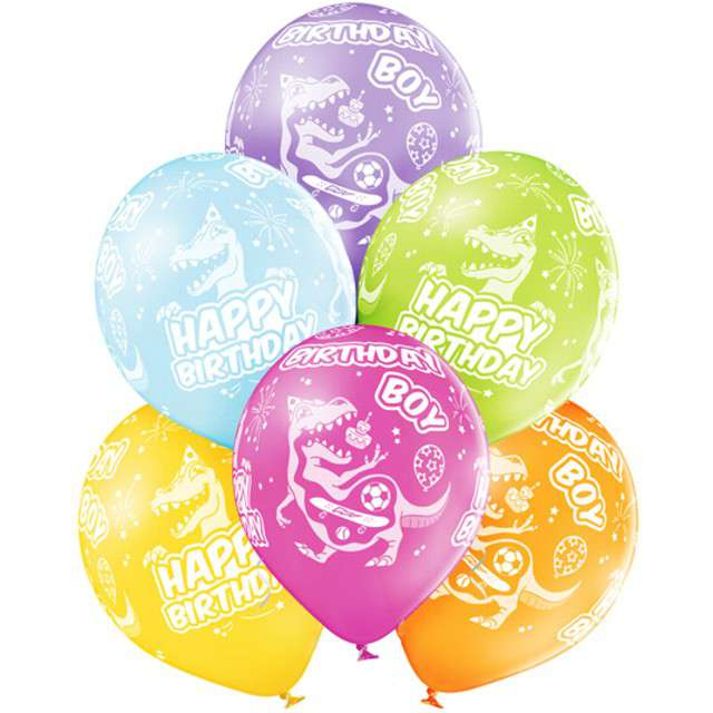 "Balony ""Happy Birthday Boy - Dinozaury"", pastel mix, BELBAL, 12"", 6 szt"