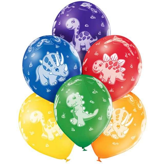 """Balony """"Dinozaury"""", pastel mix, BELBAL, 12"""", 6 szt"""