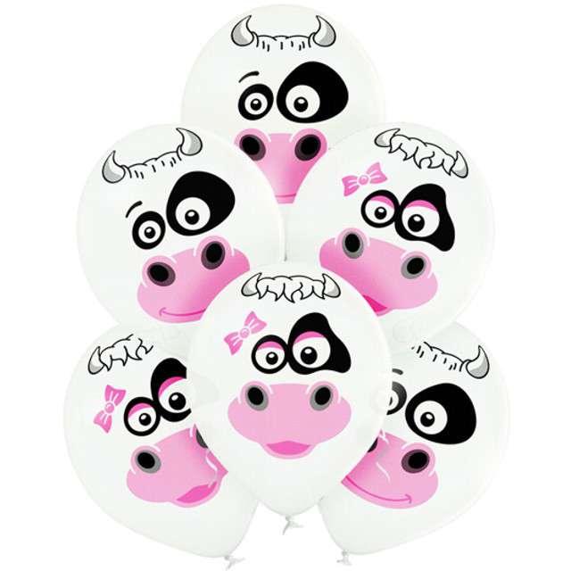 """Balony """"Krowy"""", pastel białe, BELBAL, 12"""", 6 szt"""