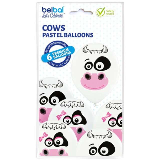 Balony Krowy pastel białe BELBAL 12 6 szt