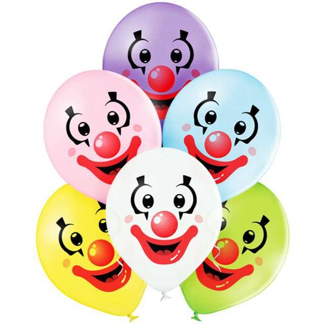 """Balony """"Klaun"""", pastel mix, BELBAL, 12"""", 6 szt"""