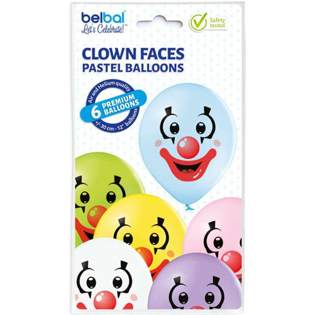 Balony Klaun pastel mix BELBAL 12 6 szt