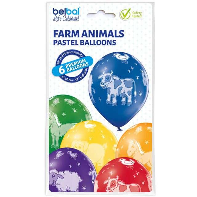 Balony Zwierzęta pastel mix BELBAL 12 6 szt