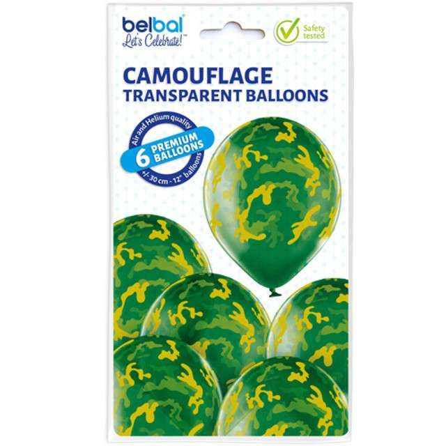 Balony Moro Kamulfaż Militarny pastel mix BELBAL 12 6 szt