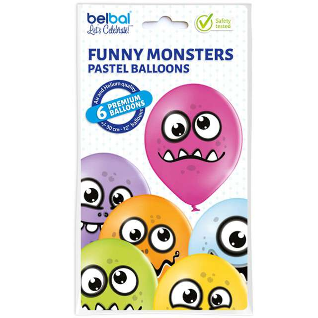 Balony Funny Monsters pastel mix BELBAL 12 6 szt