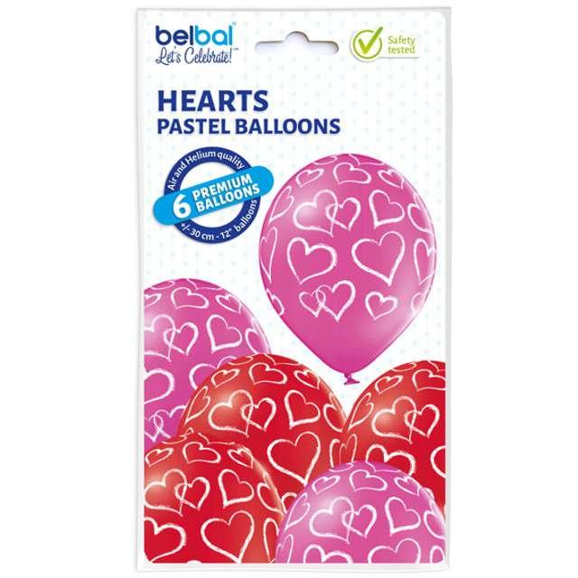 Balony Serca pastel mix BELBAL 12 6 szt