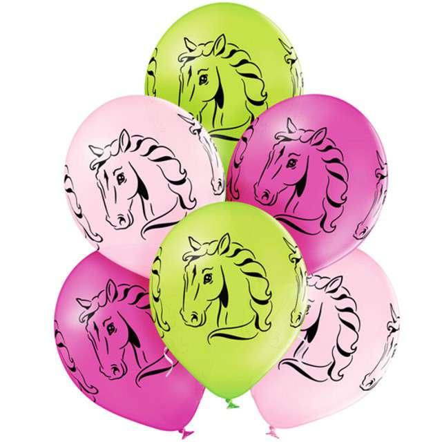 """Balony """"Konie - Horses"""", pastel mix, BELBAL, 12"""", 6 szt"""