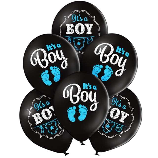 Balony Its a Boy - Stópki pastel czarny BELBAL 12 6 szt