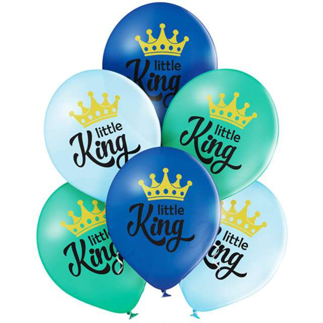 "Balony ""Little King - Chłopiec"", pastel mix, BELBAL, 12"", 6 szt"