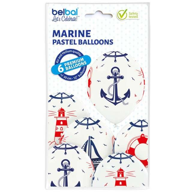 Balony Marynarz pastel białe BELBAL 12 6 szt