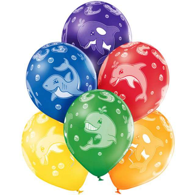"""Balony """"Morskie Zwierzęta"""", pastel mix, BELBAL, 12"""", 6 szt"""