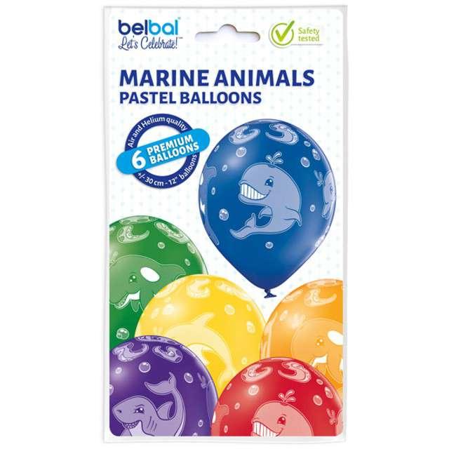 Balony Morskie Zwierzęta pastel mix BELBAL 12 6 szt
