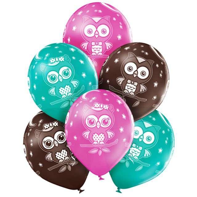 """Balony """"Sowy"""", pastel mix, BELBAL, 12"""", 6 szt"""