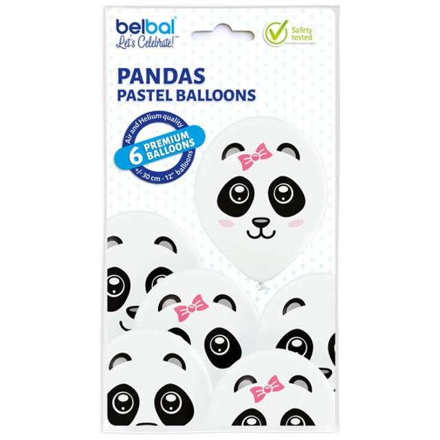 Balony Pandy pastel białe BELBAL 12 6 szt