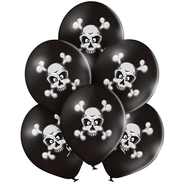 "Balony ""Czaszki"", pastel czarne, BELBAL, 12"", 6 szt"