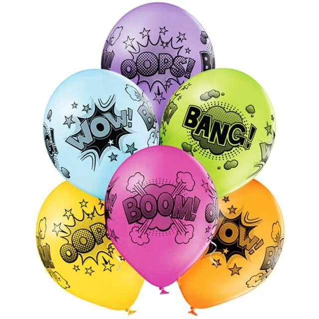 """Balony """"Komiksowe Chmurki"""", pastel mix, BELBAL, 12"""", 6 szt"""
