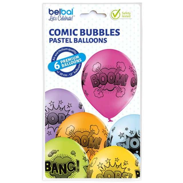 Balony Komiksowe Chmurki pastel mix BELBAL 12 6 szt