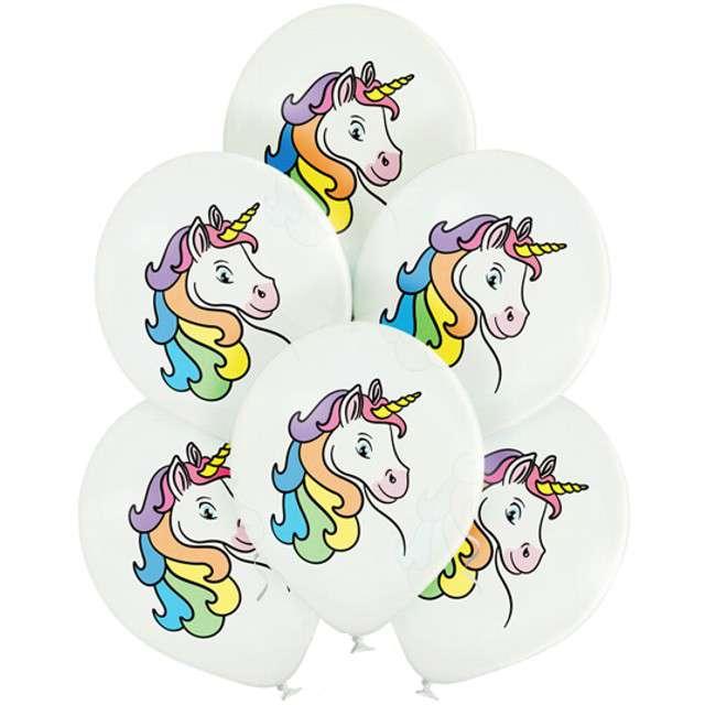 """Balony """"Jednorożce"""", pastel białe, BELBAL, 12"""", 6 szt"""
