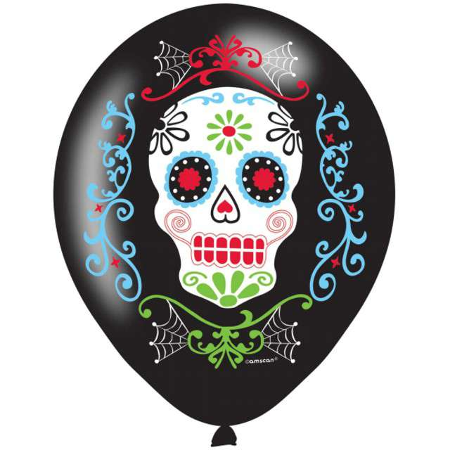 _xx_6 Latex Balloons Day of the Dead 27 cm/11 cal