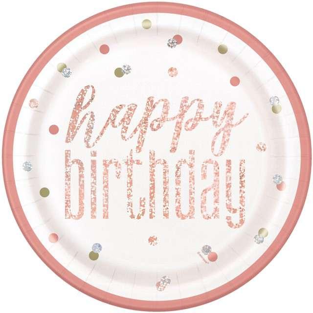 """Talerzyki papierowe """"Happy Birthday - Glitz"""", UNIQUE, 23 cm, 8 szt"""