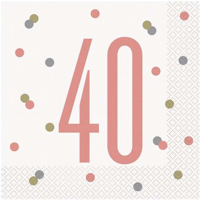 """Serwetki """"40 Urodziny - Glitz"""", UNIQUE, 33 cm, 16 szt"""