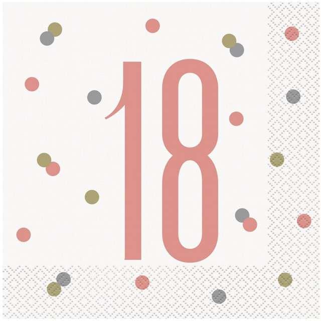 """Serwetki """"18 Urodziny - Glitz"""", UNIQUE, 33 cm, 16 szt"""