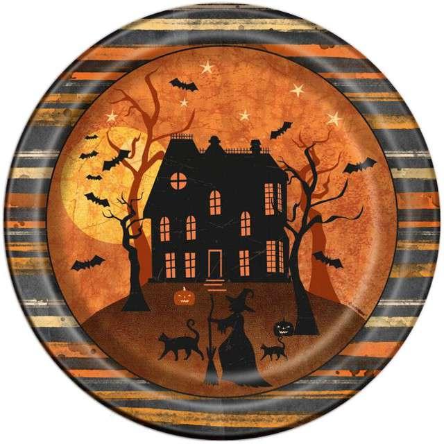"""Talerzyki papierowe """"Pełnia Księżyca - Halloween"""", UNIQUE, 23 cm, 8 szt"""