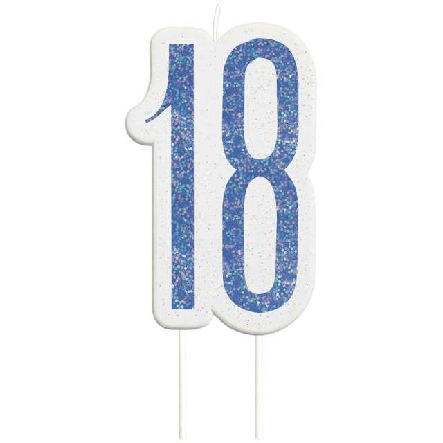 Świeczka na tort 18 Urodziny - Glitz niebieska brokatowa UNIQUE 10 cm