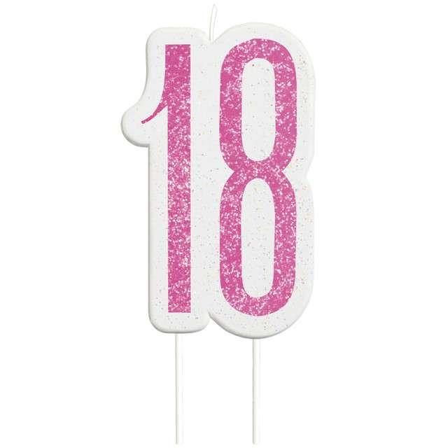 """Świeczka na tort """"18 Urodziny - Glitz"""", różowa brokatowa, UNIQUE, 10 cm"""