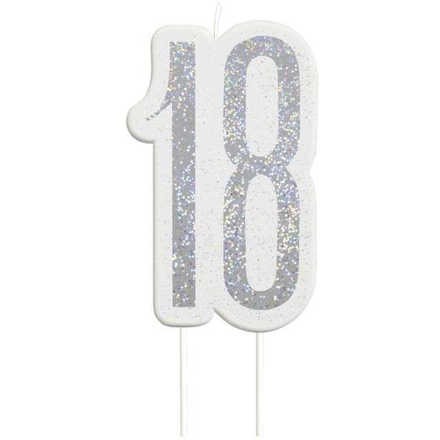 Świeczka na tort 18 Urodziny - Glitz srebrna brokatowa UNIQUE 10 cm