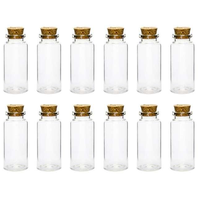 Buteleczka szklana 30x75 mm z korkiem 12 szt