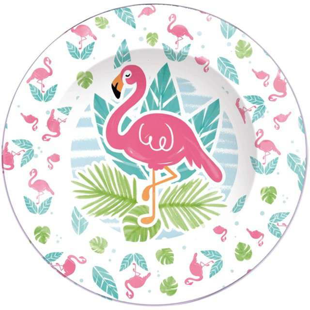 """Talerzyki papierowe """"Flamingi"""", GUIRCA, 23 cm, 8 szt"""