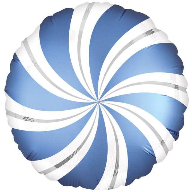 "Balon foliowy ""Lizak Satin"", niebieski, AMSCAN, 18"" CIR"