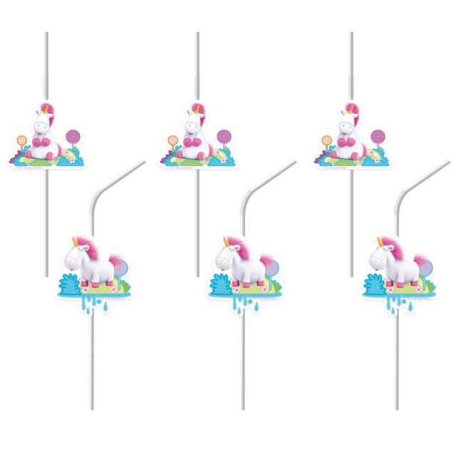 """Słomki """"Minionki - Jednorożec Fluffy"""", PROCOS, 24 cm, 6 szt"""