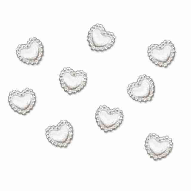 Aplikacje akrylowe Serce perłowy 1cm 1 op