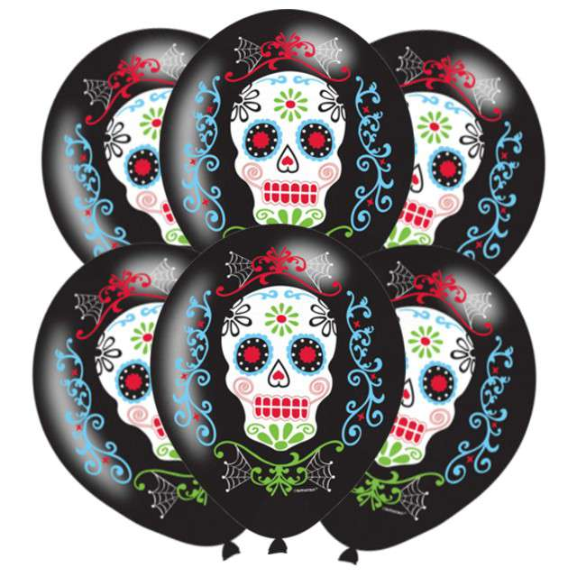 "Balony ""Day of the Dead"", czarne, AMSCAN, 11"", 6 szt"