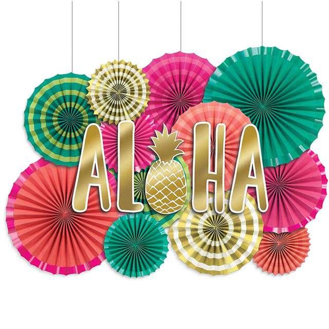 """Rozeta wisząca """"Aloha Hawajska"""", mix, AMSCAN, 12 szt"""
